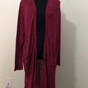 Large Cranberry Duster Cardigan Sweater